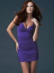 Ann Summers Kissing Cleavage Instant Boob Job Little Purple Dress Sz 34A
