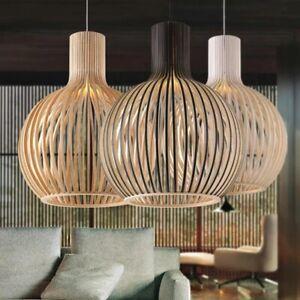 Modern Black Wood Birdcage E27 bulb Pendant light Nordic decor bamboo weaving
