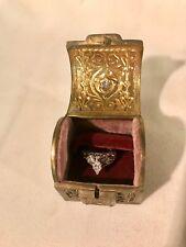 Rare Vintage Antique German Art Nouveau Gold Bronze Engagement/Wedding Ring Box