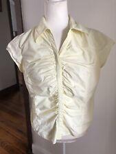 VERONIKA MAINE 12 Light Yellow Cotton Blouse Short Sleeve EUC