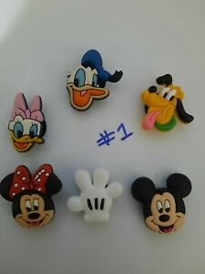 CROCS shoe Charms set of 6 - DISNEY ~NEW~ Minnie, Mickey, Pluto , Donald, Daisy