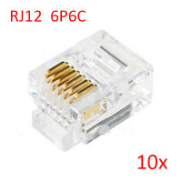 10pcs RJ12 6P6C Modular Plug Connector For RJ12 Telephone Line Cord,Gold-plated