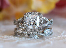 2.00ct White Princess Vintage 14K Certified WG Engagement and Wedding Ring Set