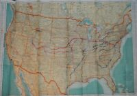 WWII Map of MP's Movement Throughout the U.S. w/ German POW's Under his Command