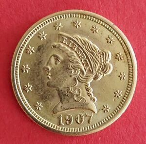 United States of America Gold coin Quarter Eagle Liberty Head $2.5 1907 AU