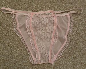 Vintage 1980s Pink Nylon Sheer Tanga String Panties Knickers Briefs M