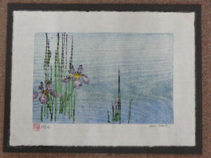 Original Woodblock Print Iris Pool Japanese Washi Paper Moku-Hanga Signed Clark