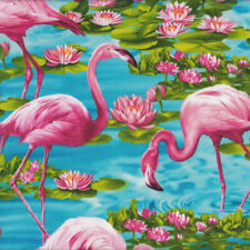 Pink Flamingos on Turquoise Water Lilies Birds Quilt Fabric FQ or Metre *New*
