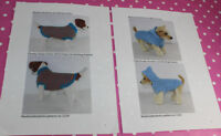 BARGAIN 2 X PRINTED KNITTING INSTRUCTIONS - DOG CHUNKY STRIPE COAT AND HOODIE