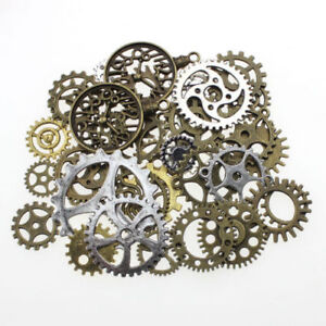 50gm OR 100gm METAL BRONZE SILVER GOLD STEAMPUNK COGS & GEARS CHARM MIX TS88