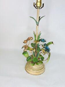 VTG Italian Italy Mid Century Pink Blue Flower Metal Toleware Lamp TLC Works