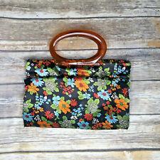 Vintage Lady's Pride Sewing Knitting Bag Purse Tote Handbag Floral 60s 70s Hippy