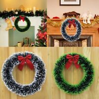 Christmas Wreath Garland With Bowknot Xmas Tree Home Holiday Party Decoration