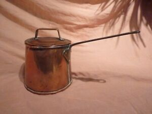 ANTIQUE / VINTAGE POLISHED COPPER 3 PINT BREWING PAN,POT WITH LID & HANDLE,GYPSY