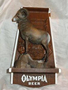 RARE Vintage 1970's OLYMPIA BEER Sign Big Horn Sheep 3D Mount Wildlife Series