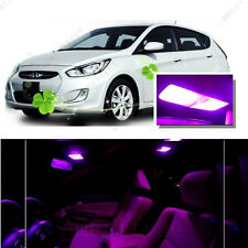 For Hyundai Accent 2012-2016 Pink LED Interior Kit + Pink License Light LED