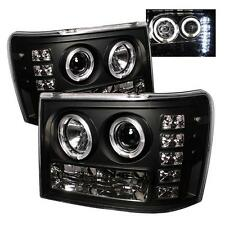 Pair Projector Head Lights Lamps GMC Sierra & HD Denali 2007-2013 HALO LED Black