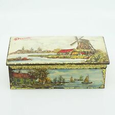Mid-Century Droste's Tin Lithograph Windmill and Sea Scene Hinged Storage Contai