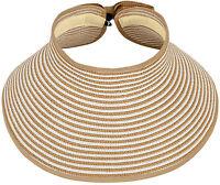 New Ladies Women Foldable Straw Hat Summer Beach Roll Up Wide Brim Sun Visor Hat