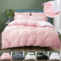 Thermal Warm Teddy Bear Fleece Duvet Quilt Cover Soft Bed Set Double King Sizes