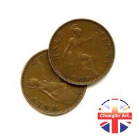 A pair of 1934 British Bronze GEORGE V HALFPENNY Coins