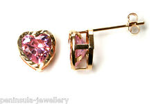 9ct Gold Pink CZ Heart stud Earrings Made in UK Gift Boxed Studs Christmas Xmas