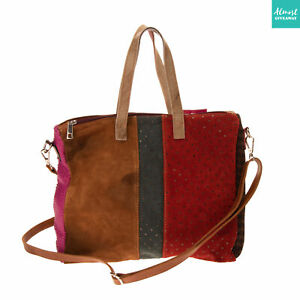 RRP €175 EBARRITO Leather Tote Bag Multi Pattern Panel Slouchy Made in Italy