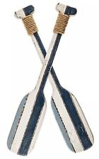 Blue and White Double Oar Wooden Wall Decor   Nautical Beach Home Decor New