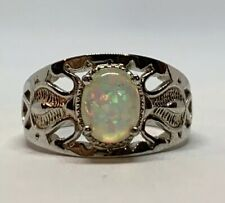 White Opal Palladium Plated Alloy Ring Size 8