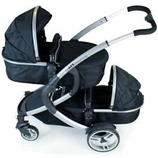 CLEARANCE*** iSafe Tandem Pram me&you - Black (Black) + All Raincovers