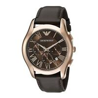 100% New Emporio Armani AR1701 Dress Brown Dial Leather Band Chrono Men's Watch