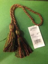 "Rose Gold Sage Chair Tie 4"" Tassels 16"" Cord Spread Lot Of 6 green red"