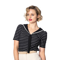 Banned Pier Striped Sailor Rockabilly Retro 1960s 60s Style Womens Jersey Top
