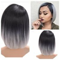 28CM Women Heat Resistant Short Straight Full Wig Ombre Grey Hair Cosplay Black