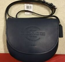 COACH Hudson Midnight Blue Leather Crossbody Handbag Purse Natural Smooth  New 5311525d3f