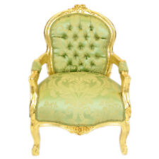 CHILDREN BAROQUE STYLE CHAIR GOLD / PRINTED GREEN # F11MB45