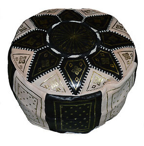 Ottoman Footstool Poof Moroccan Hand Made Leather Poufs Hassock Medium Black