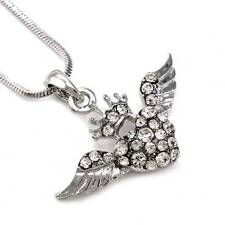 Valentine's Day Gift Angel Wing Crown Tiara Clear Heart Necklace Pendant Charm