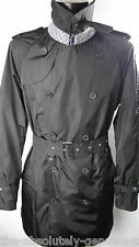 AQUASCUTUM Black Double Breasted AQUAMAC Packable Trench Rain Coat sz L BNWT