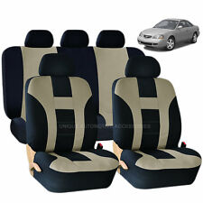 9PC DOUBLE STITCH BEIGE & BLACK POLY SEAT COVERS SET for CARS 1021