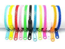 12Pcs Mixed Single-Color Plastic Zipper Bracelets (Pack #1)