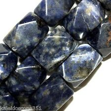 "SODALITE FACETED NUGGETS GEMSTONE BEADS 12X20MM 16"" BEAD STRAND SN8"