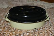 Granite Metal Antique Vintage Yellow Black Meat Roaster