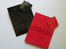 12 Small GLOSSY GIFT BAGS You Choose Red or Black FREE S/H party favors