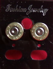 380 CALIBER REMINGTON   EARRINGS BRASS  RECYCLED NEW UNUSED STAINLESS STEEL POST
