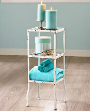 Bathroom 3 Tier Metal & Glass Stand Table Vintage Shabby Chic Distressed Bath
