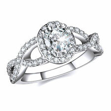 Engagement Ring Platinum 925 D/Vvs1 Oval Shaped Halo Infinity