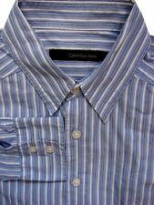 CALVIN KLEIN Shirt Mens 15 S Blue – Black & White Stripes