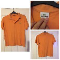 Lacoste Mens Orange T-shirt Size 4 Medium Polo Neck Short Sleeve (A471)