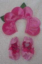 """Flower Petal Halloween Costume Hat & Booties XS Small 3.25"""" Diameter"""